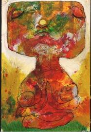 'Little Buddha Giving Remarkably Few Fucks' Unika. Akryl og tusch. 62 h. 48 b inkl. ramme.